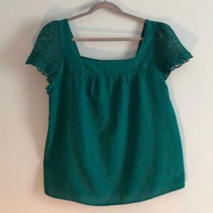 Beautiful Crocheted Emerald Green Top